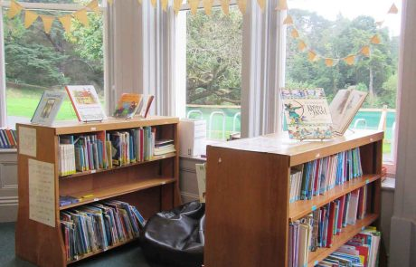 low bookshelves with library books in light filled bay window