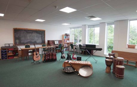 Music room with a selection of musical instruments