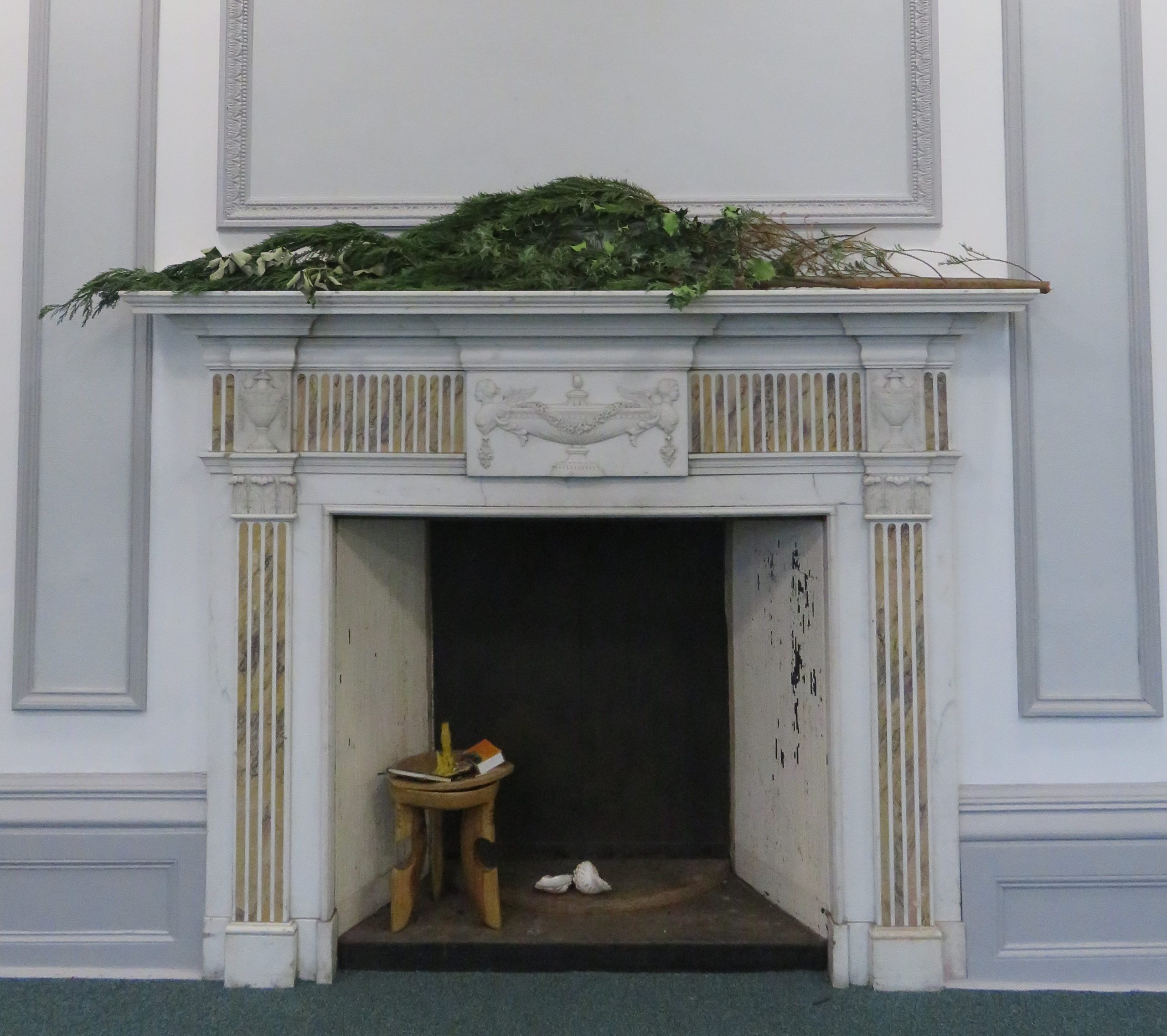 Paneled Room Fireplace at Christmas